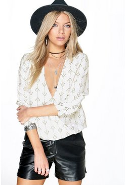 Grainee Mixed Print Woven Wrap Front Blouse