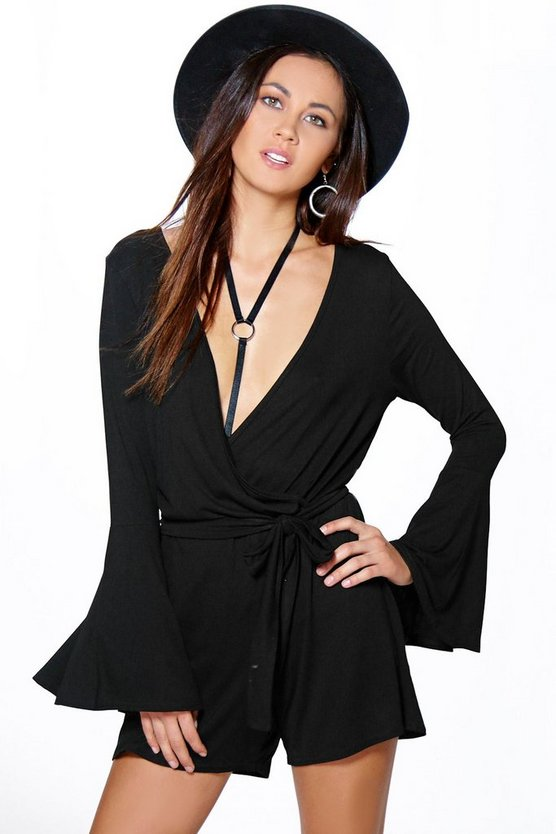 Mia Flute Sleeve Wrap Belt Playsuit