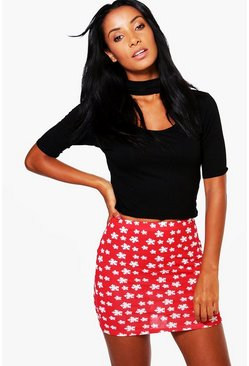 Amelle Snowflake Novelty Christmas Mini Skirt