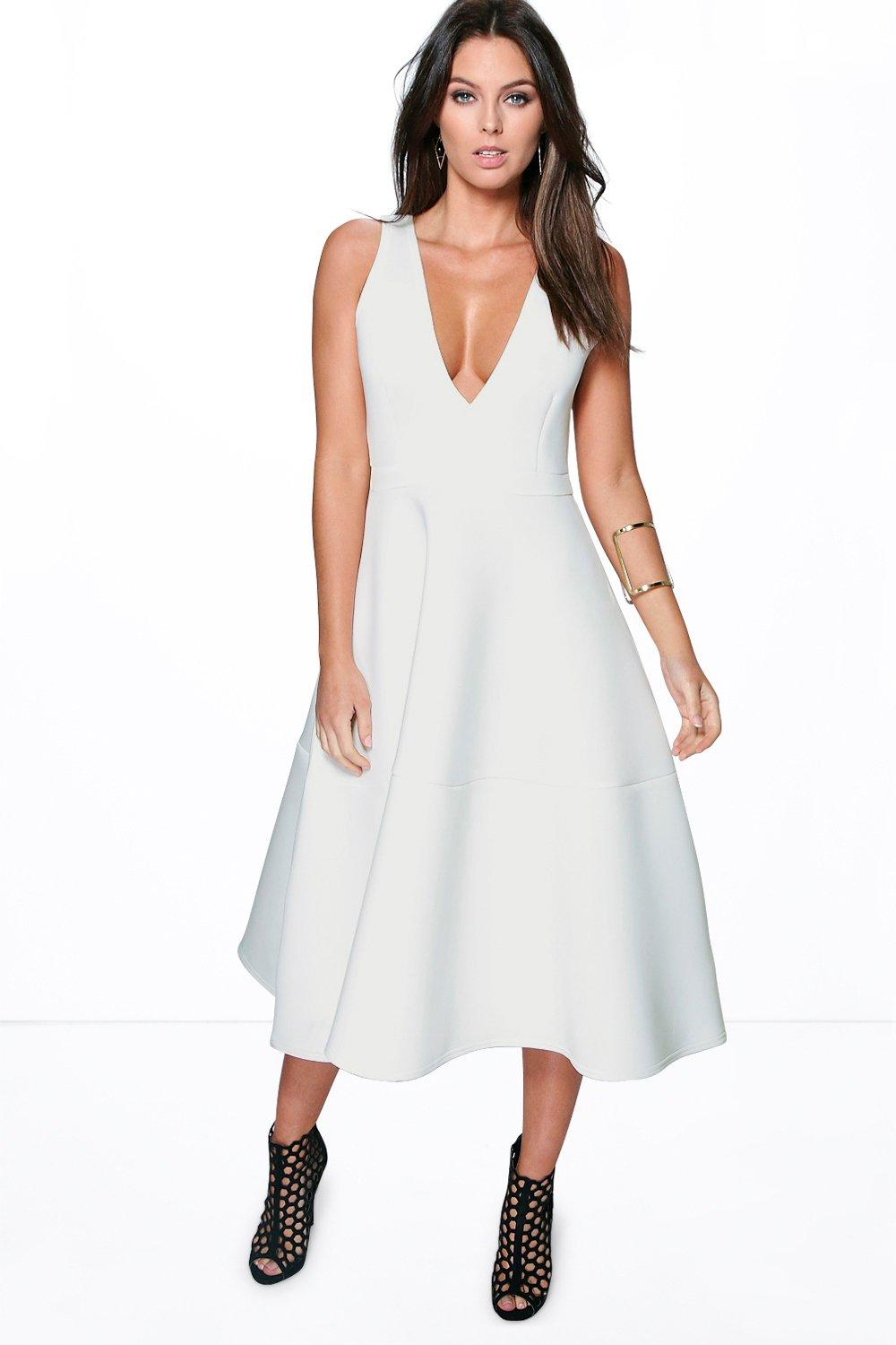 Kate Bonded Scuba Plunge Skater Dress