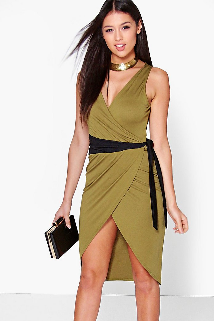 Olivia Contrast Tie Detail Wrap Dress