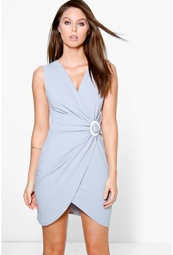 Carla Circular Ring Detail Wrap Bodycon Dress