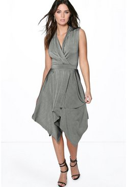 Jane Textured Slinky Hanky Hem Wrap Dress