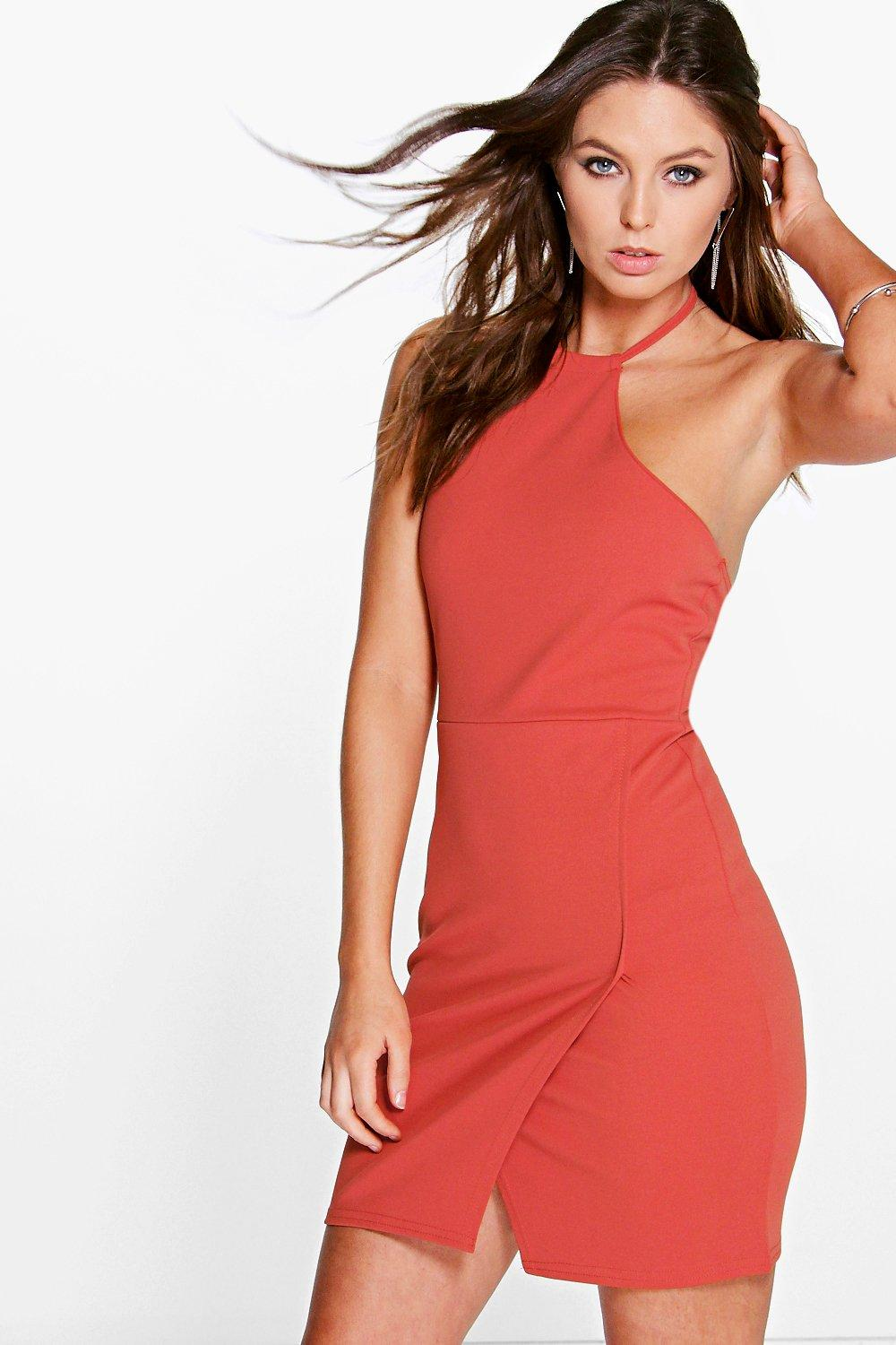 Carol Tie Halterneck Wrap Over Bodycon Dress