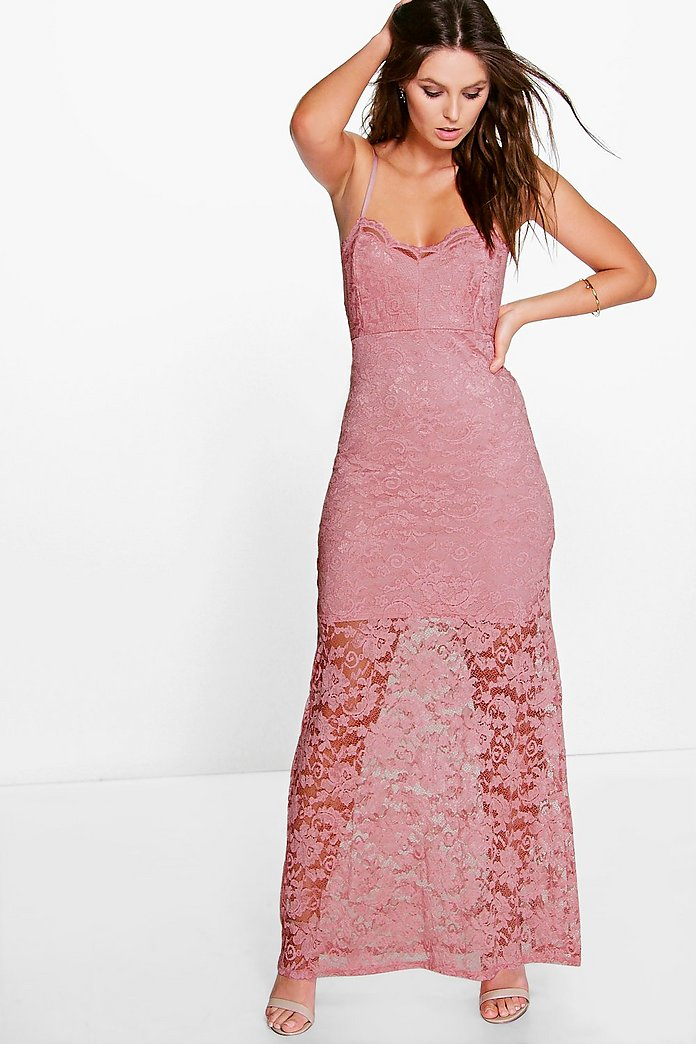 Lisa Scallop Lace Strappy Maxi Dress