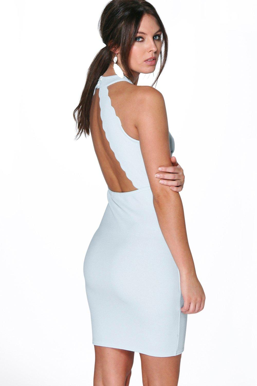 Charly High Neck Scallop Back Bodycon Dress