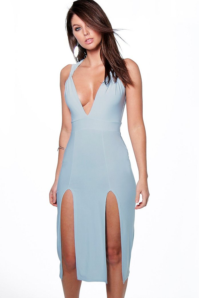 Maya Twist Strap Split Front Midi Dress