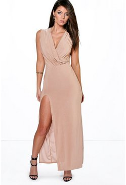 Cindy Draped Plunge Thigh Slit Maxi Dress