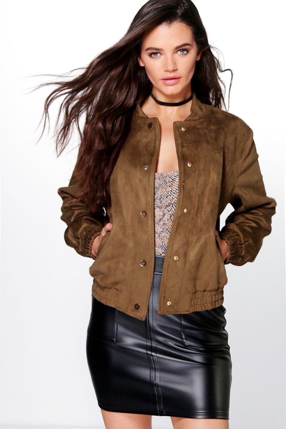 Megan Bonded Suedette Press Stud Bomber Jacket