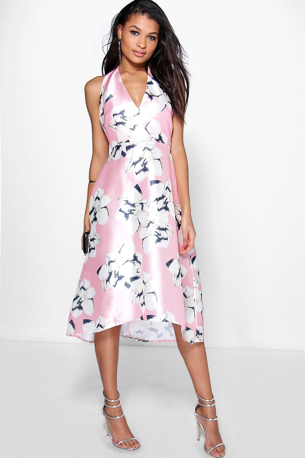 Floral Sateen Halterneck Skater Dress pink