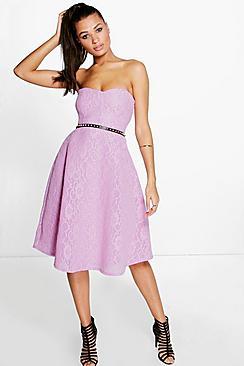 Boutique Mia Bonded Lace Bandeau Skater Dress