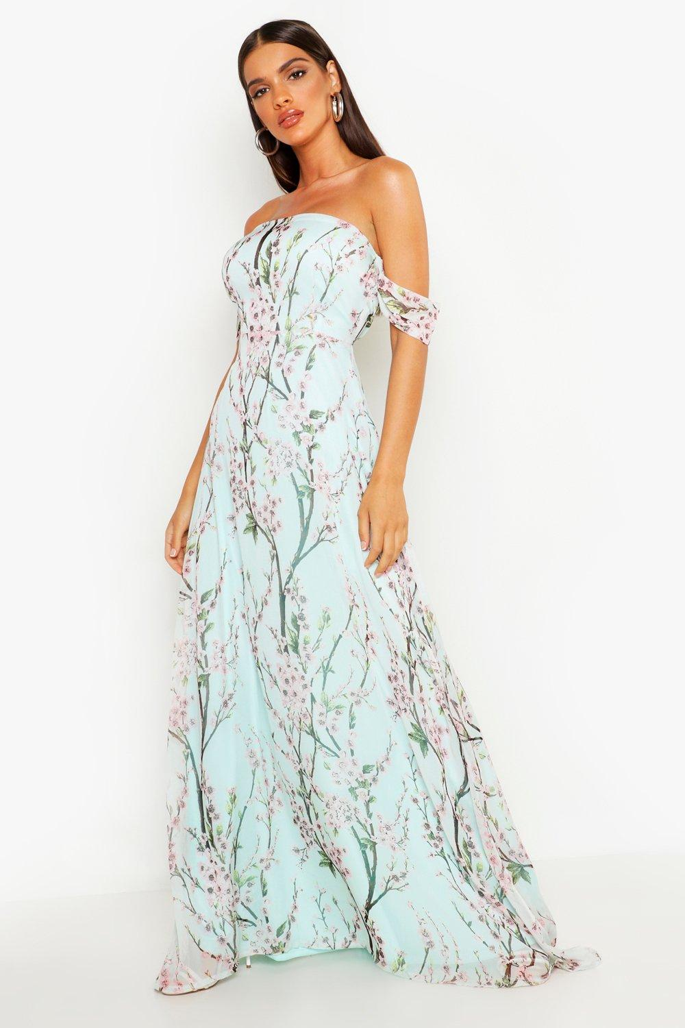 Jessica Floral Off The Shoulder Maxi Dress | Boohoo