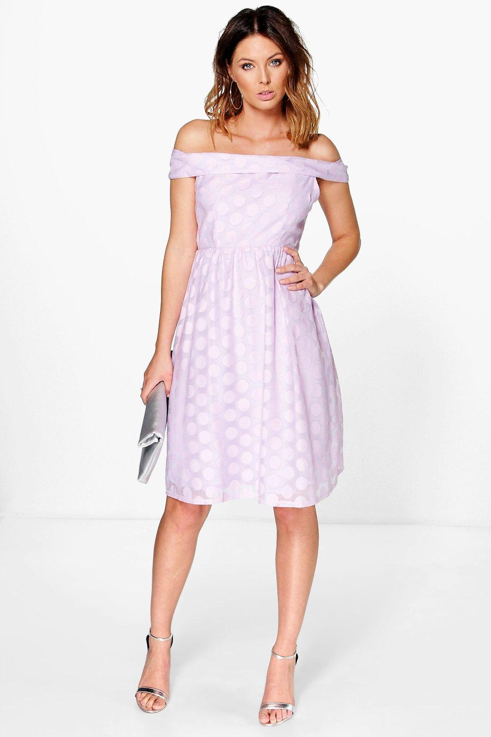 Layla Polka Dot Organza Skirt Off Shoulder Dress