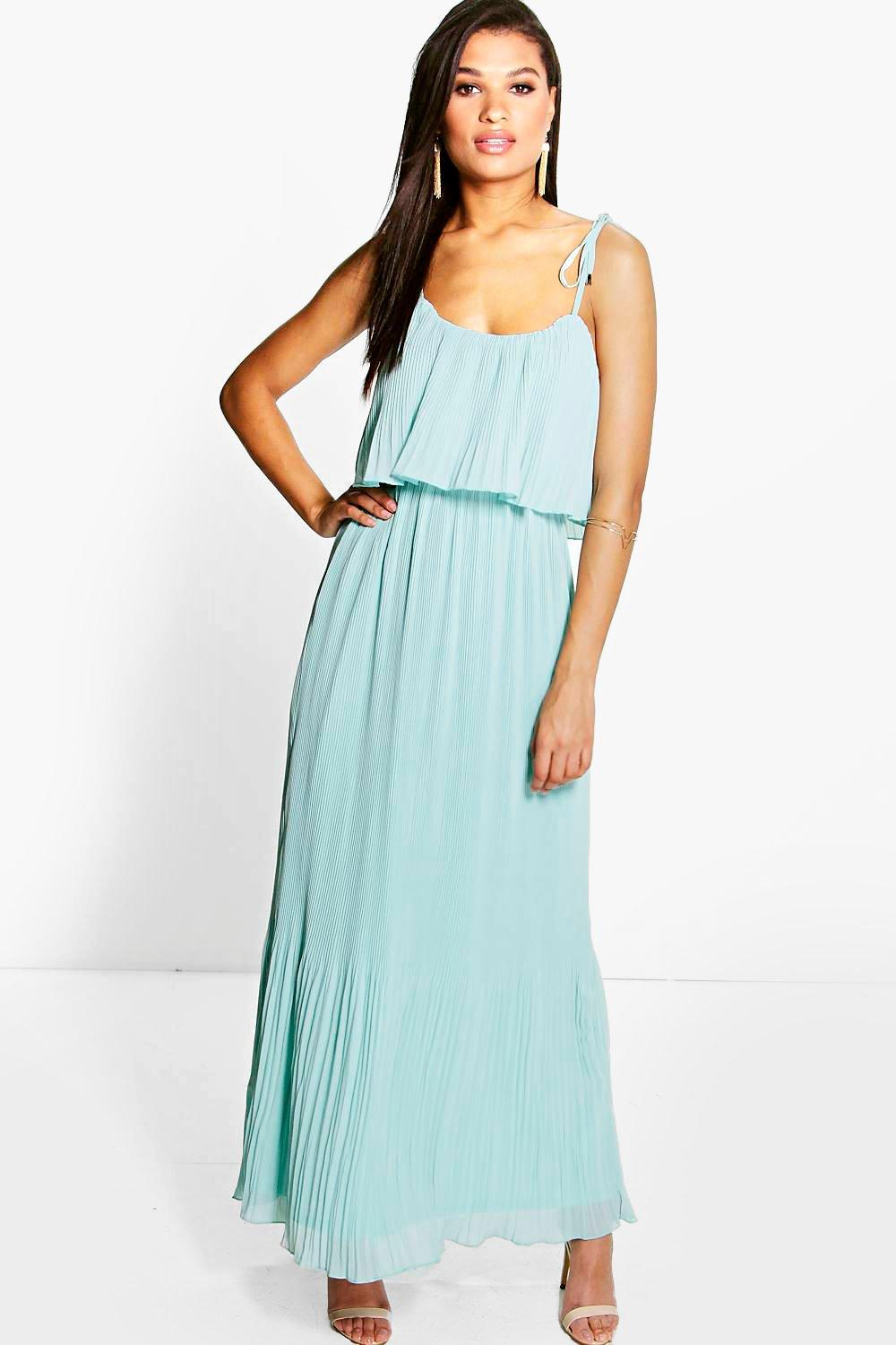 Sandra Pleated Double Layer Strappy Maxi Dress