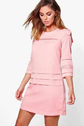 Clara Pleat Detail 3/4 Sleeve Shift Dress