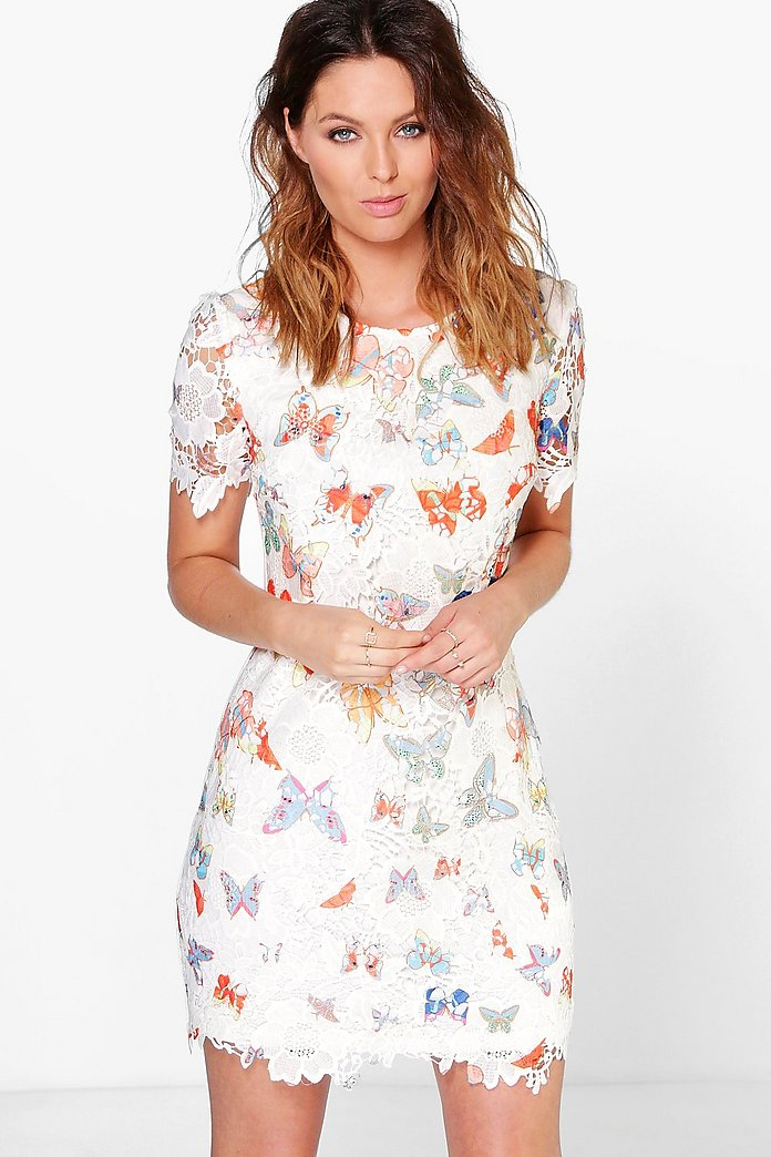 Sandy Butterfly Print Corded Lace Shift Dress