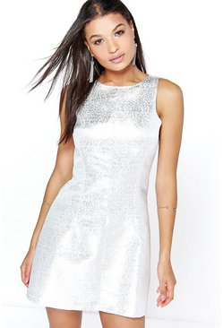 Lara Metallic Jacquard Seam Detail Skater Dress