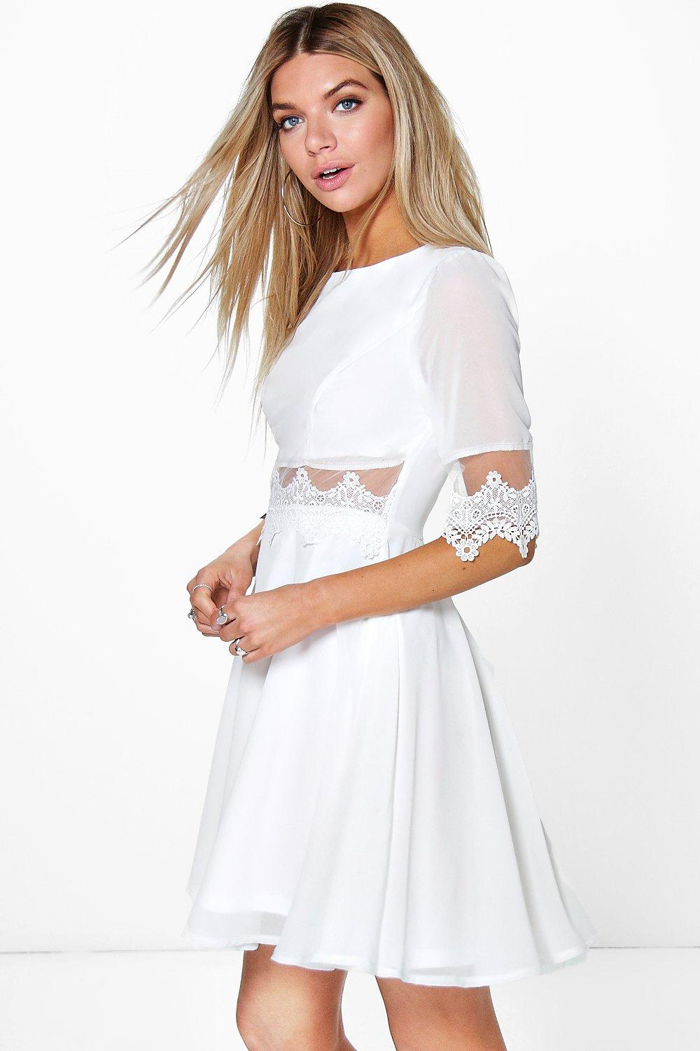 Lilly Lace & Mesh Insert Skater Dress