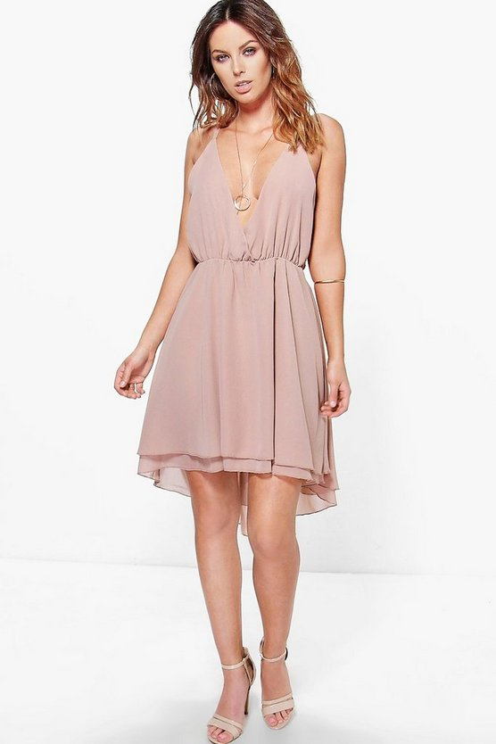 Debbie Chiffon Plunge Draped Dress