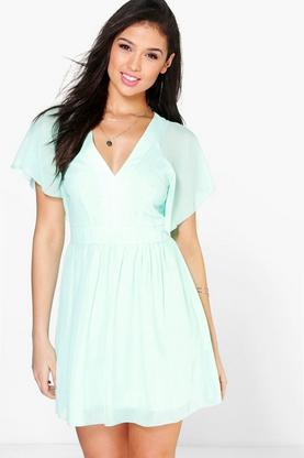 Alison Chiffon Angel Sleeve Skater Dress