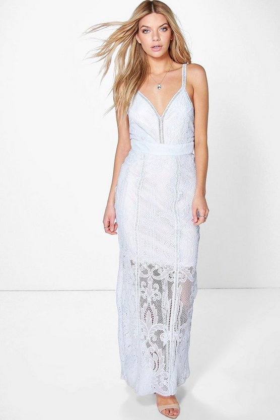 Boutique Sarah Corded Lace Panelled Maxi Dress