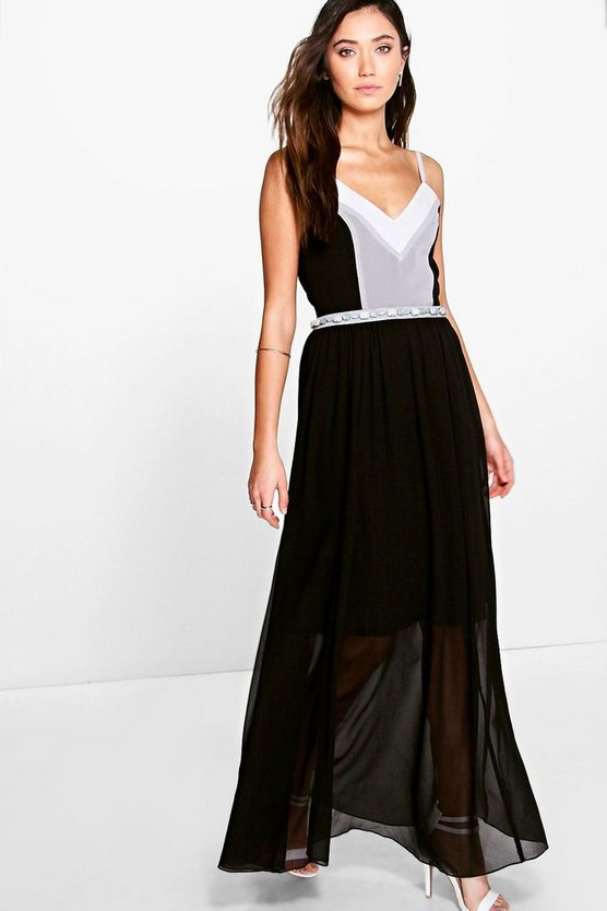 Laura Colour Block Embellished Waist Maxi Dress