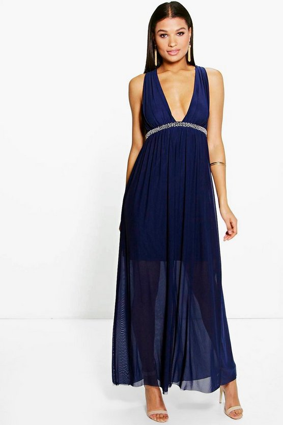 Kelly Mesh Plunge Embellished Waist Maxi Dress