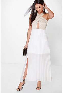 Layla Cross Over Top Detail Pleated Maxi Dress