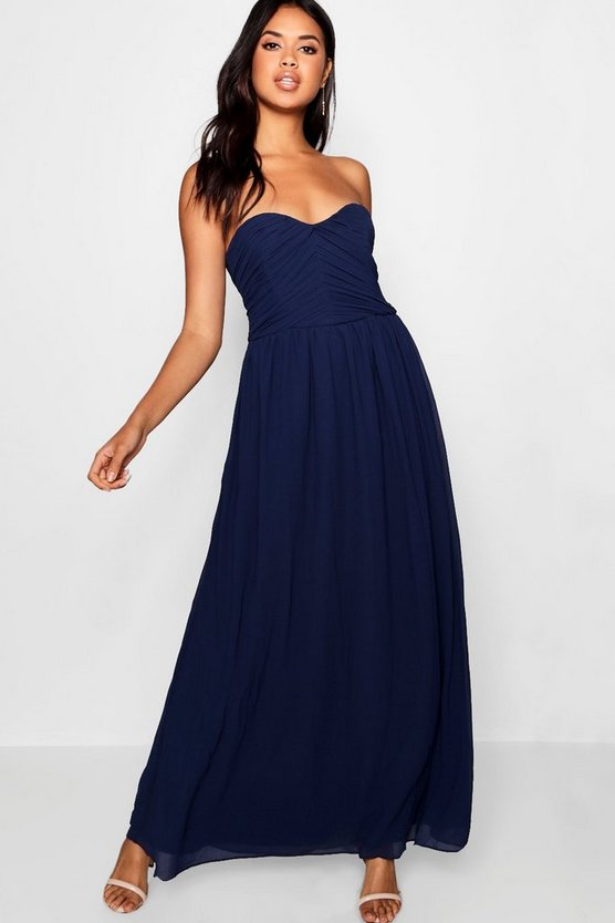 Maya Pleated Chiffon Top Bandeau Maxi Dress