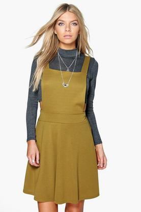Selena Cross Back Pinafore Dress