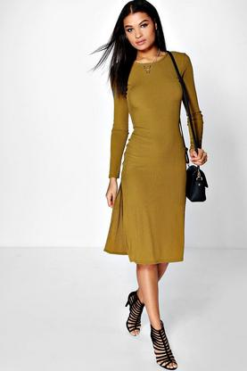 Anne Ribbed Split Side Midaxi Dress