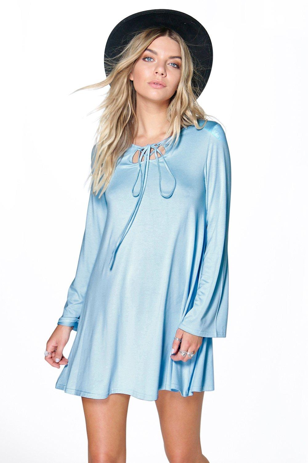 Lara Tie Front Long Sleeve Swing Dress