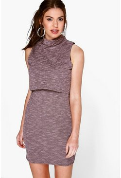 Ela Textured Layer High Neck Bodycon Dress