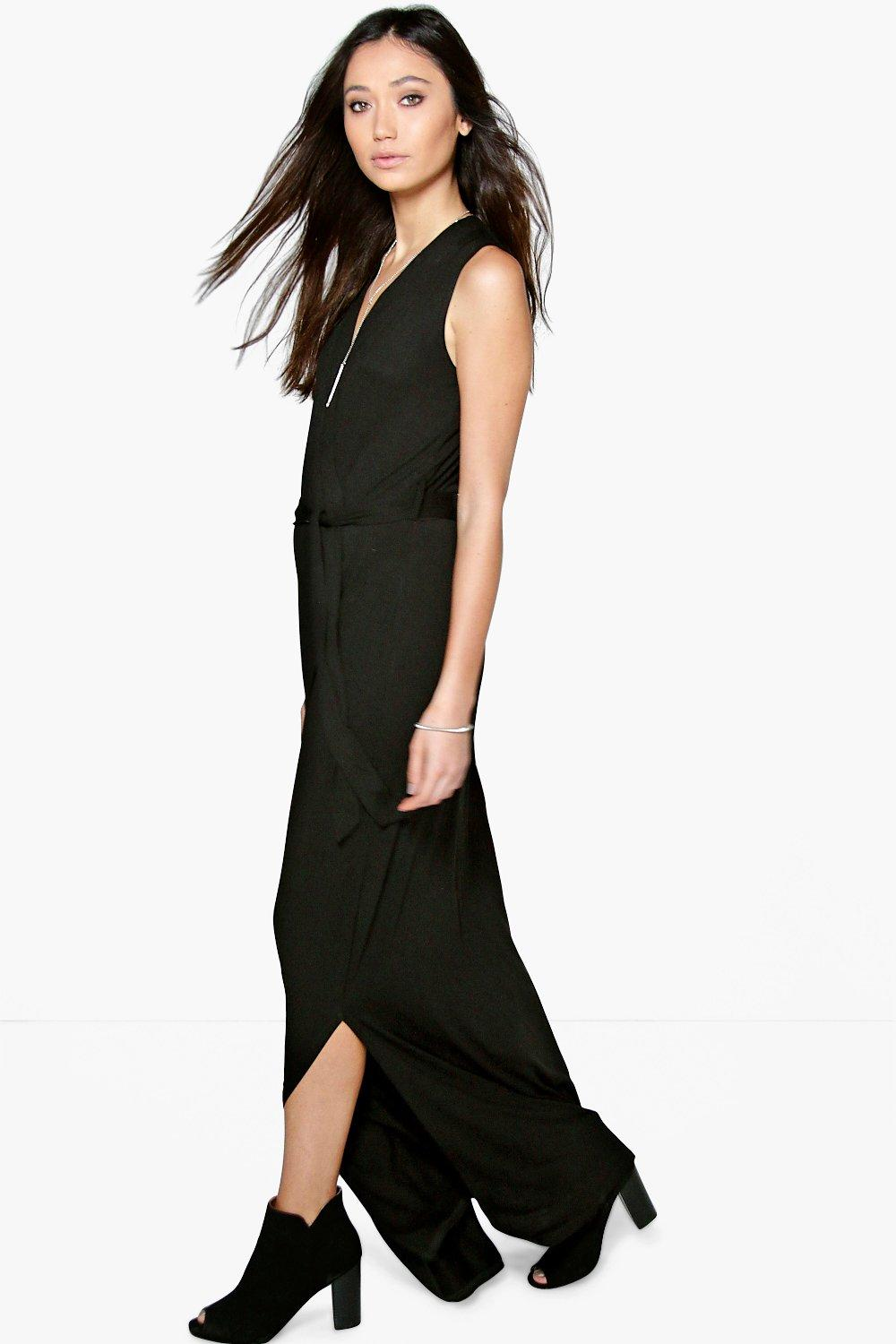 Faye Sleeveless Tie Waist Wrap Maxi Dress