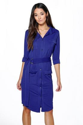 Ella Tie Waist Pocket Shirt Dress