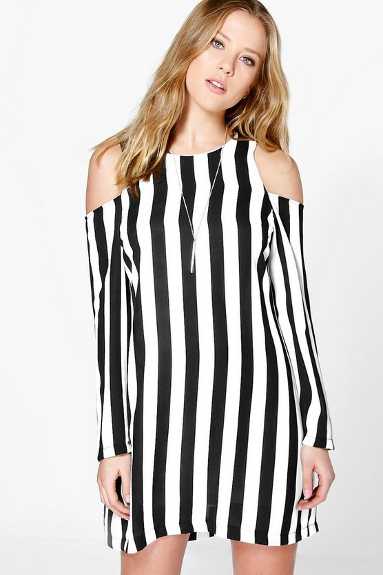 Haillie Cold Shoulder Stripe Shift Dress