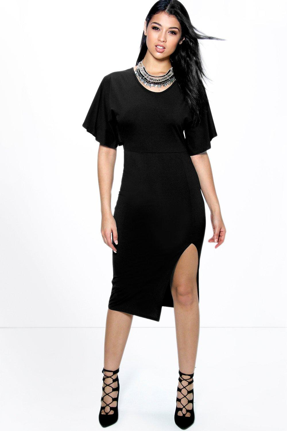 Ciara Textured Frill Sleeve Midi Bodycon Dress