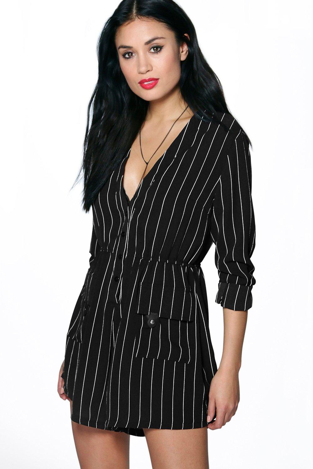 Eliza Striped Shirt Style Woven Playsuit