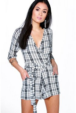 Ella Mono Check Self Belt Wrap Playsuit