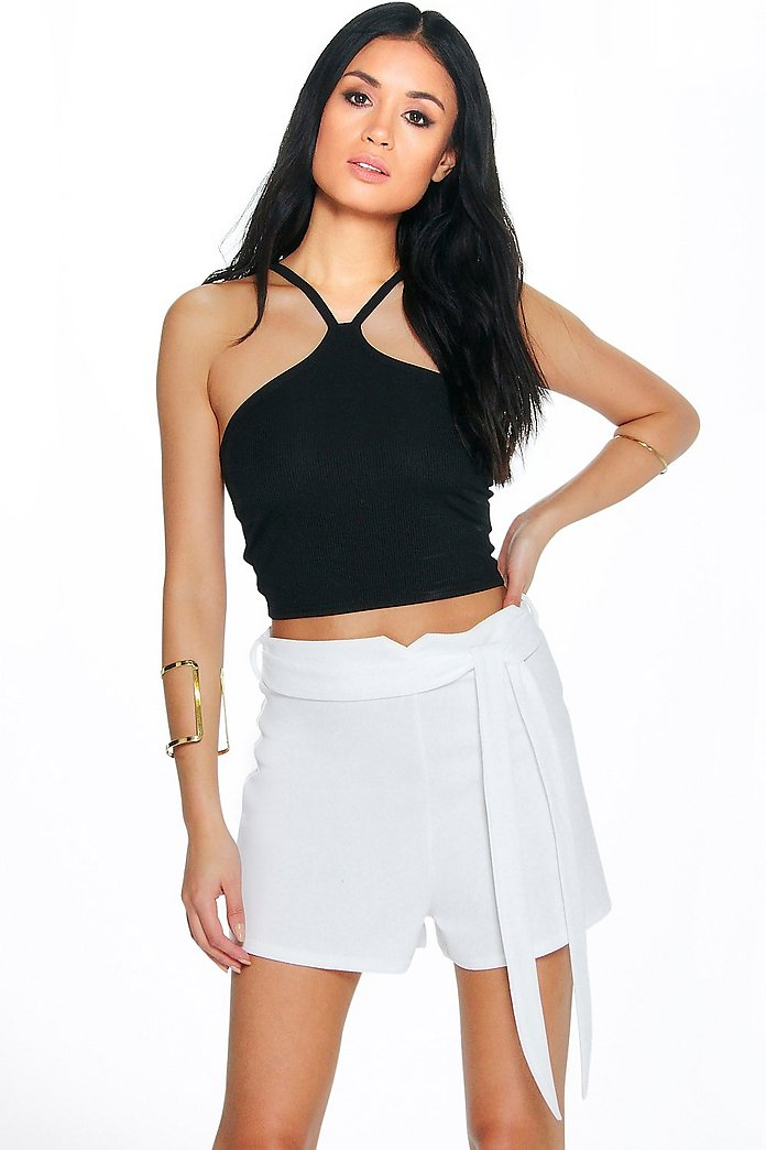Alice Crepe Belted Shorts