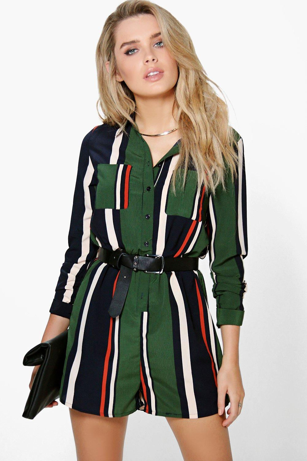 Molly Striped Shirt Style Playsuit