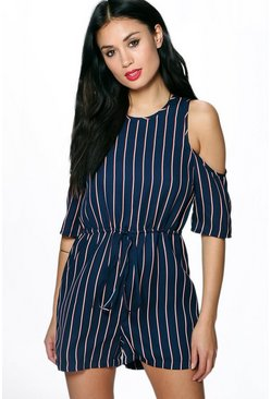 Ava Open Shoulder Woven Stripe Playsuit