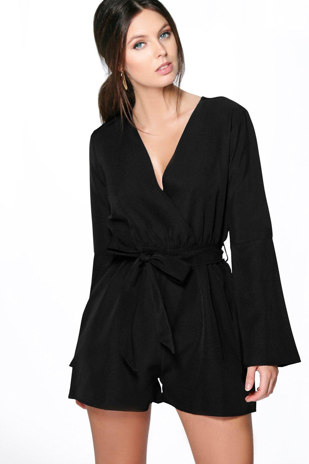Zoe Flare Sleeve Self Belted Playsuit