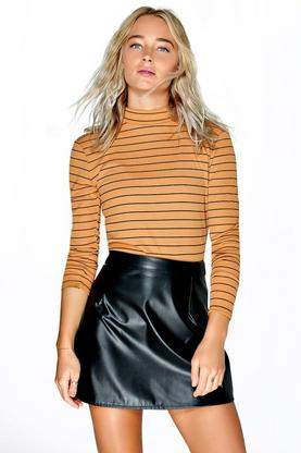 Maisie Stripe Turtle Neck Rib Knit Jumper