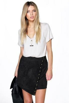 Megan Wrap Front Stud Trim A Line Skirt