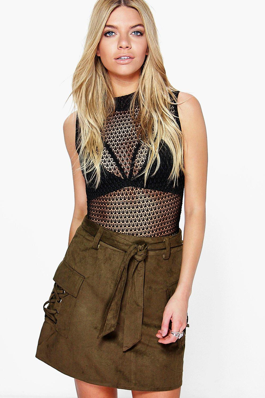 Cargo Pocket Tie Belt ALine Skirt  khaki