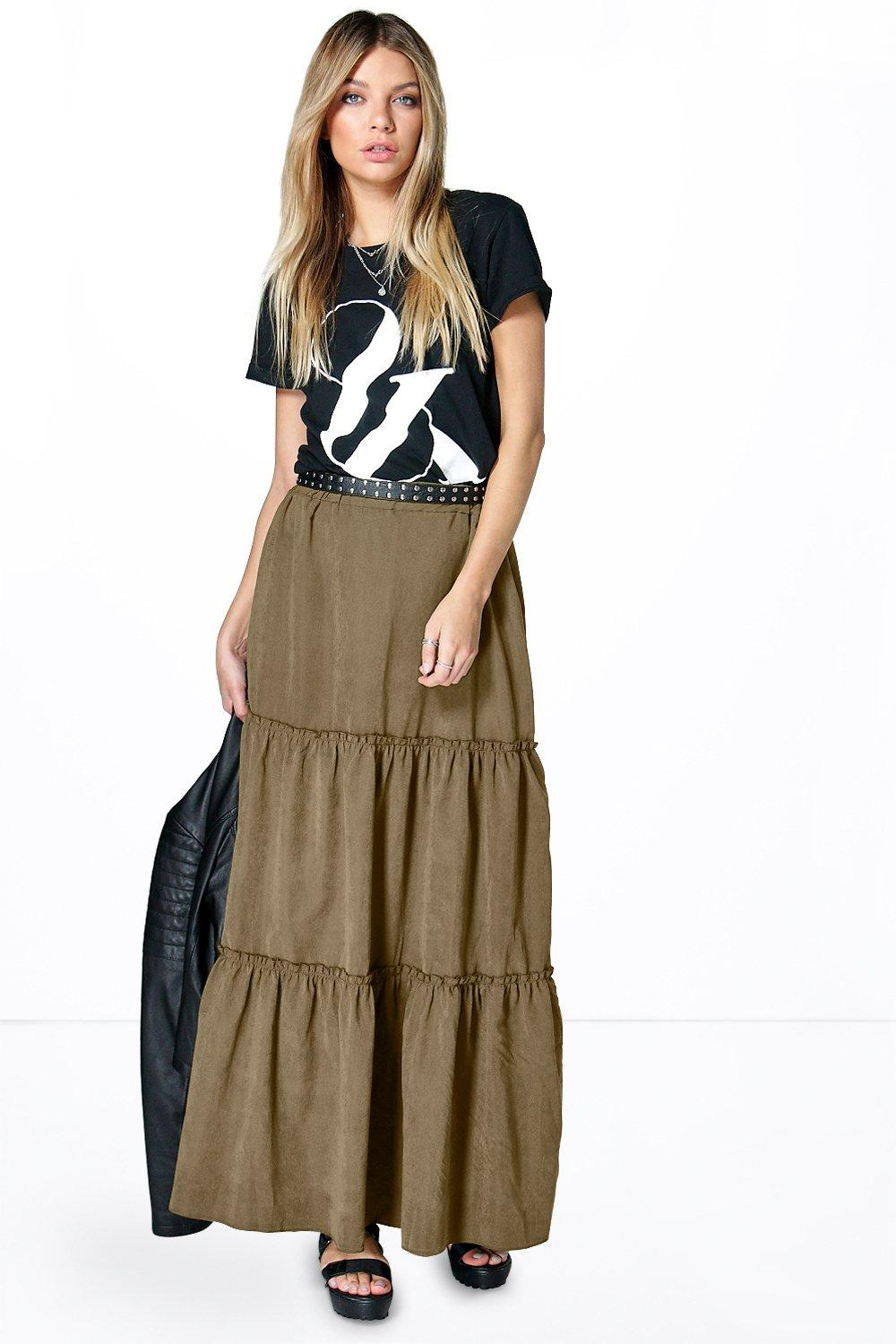 Tiered Gathered Maxi Skirt khaki