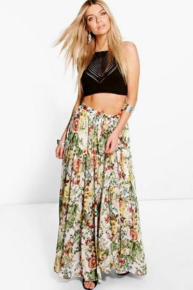 Boutique Bea Floral Print Gathered Maxi Skirt