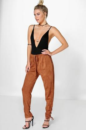 Boutique Sia Suedette Lace Up Hem Jog Trouser
