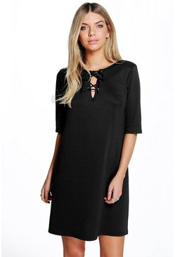 Loly Lace Up Front Shift Dress